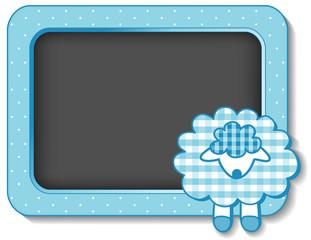 Baby Lamb, nursery frame board, polka dots, pastel aqua gingham