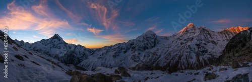 Fotobehang Nepal Panoramic view of Annapurna Range at sunrise, Nepal
