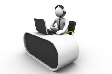 3D man working in a call center.