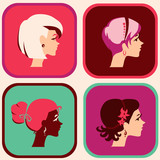 Icons with womans head