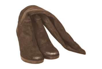 brown women's boots on white background