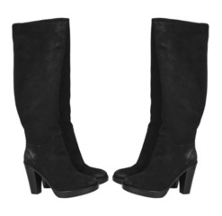 black women's Boots on white background