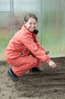 Mature woman  sows seeds