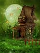 Mała chatka elfów na wiosennej łące ze stokrotkami
