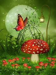 Zielona baśniowa łąka z muchomorami i motylem