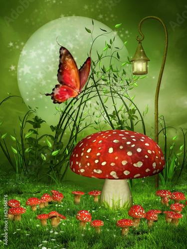 Zdjęcia na płótnie, fototapety na wymiar, obrazy na ścianę : Zielona baśniowa łąka z muchomorami i motylem