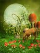 Zielona baśniowa łąka z grzybami i sarenką