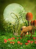 Fototapeta Pokój dzieciecy - Zielona baśniowa łąka z grzybami i sarenką © Chorazin