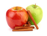 Red and green apples, cinnamon sticks