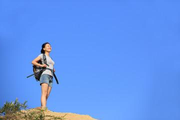 hiking woman  desert mountain peak