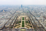 Panorama of Champ de Mars from top of Eiffel Tower, Paris