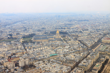 Cathedral Les Invalides in Paris from Eiffel Tower