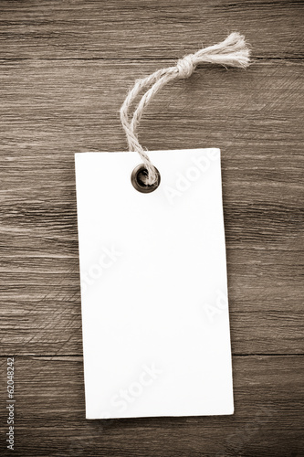 price tag label on wooden board