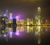 Hong Kong Skyline and reflection by night