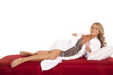 Woman nightgown white robe full body