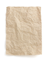 wrinkled note paper on white