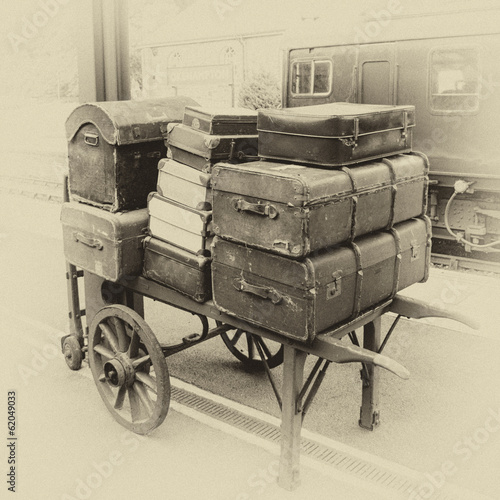 Luggage on porter's trolley on railways station