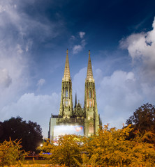 The Votive Church in Vienna at dusk