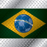 Abstract brasil flag on metallic plate