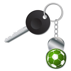 Black key with metallic soccer ball keyholder