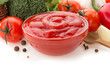tomato sauce in bowl on white