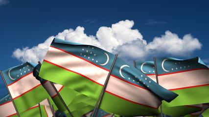 Waving Uzbek Flags