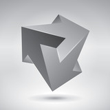 Vector crystal, unreal object, design element, impossible arrows