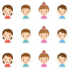 顔 表情セット/子供 男女