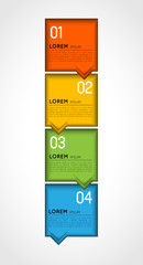 vertical colorful infographic template, banners with option step