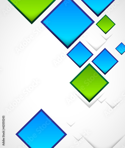 green and blue squares composition, abstract background