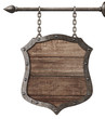 medieval wood sign or shield hanging on chains isolated on white