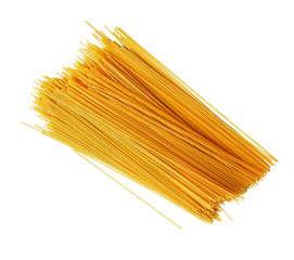 Uncooked Italian spaghetti on a white background.