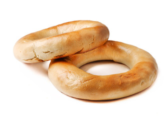 Whole Wheat Bagels isolated on white background