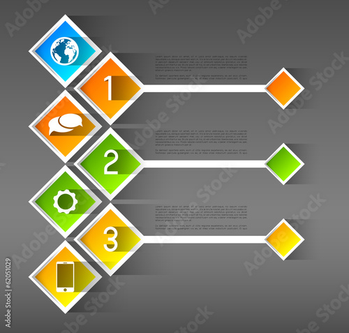 infographic template squares with option steps and icons