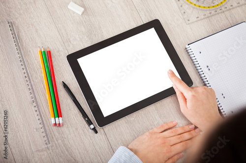 Person With Digital Tablet And Student Accessories