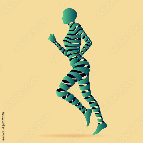 Abstact ribbon shaped with young lady running.