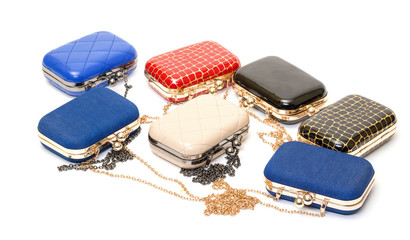 Set of fashionable female handbags