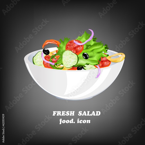 Fresh Vegetable Salad.Healthy Food.Vector