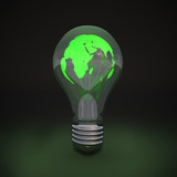 Green Light Bulb. World map