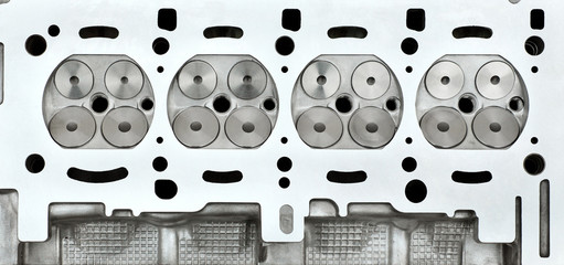 Car servicing, engine cylinder head, four valve construction