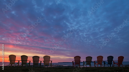 Time lapse Bood red Sky Sunrise Lake Hurton Chairs