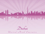 Dubai skyline in purple radiant orchid