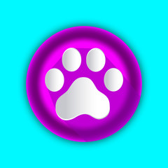 3d footprint dog pink icon