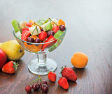 Fruit salad prepared with fresh organic fruits