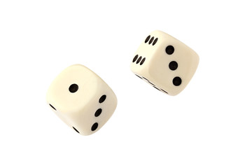 Two white dices isolated on white background with clipping path