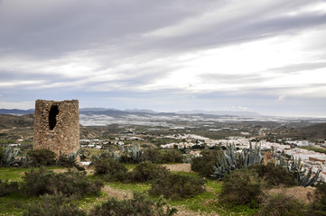 Atalaya watchtower and greenhouses in background, Nijar - Almeri