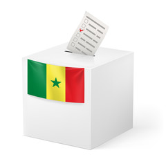Ballot box with voting paper. Senegal