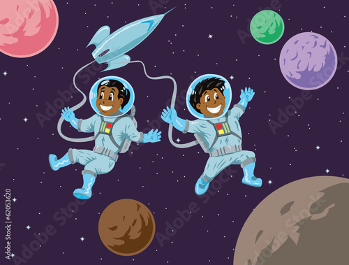 Cute kids in space