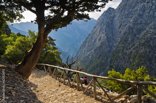 Trail through Samaria gorge, island of Crete