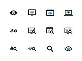 Monitoring duotone icons on white background.